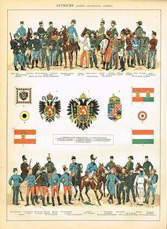 "Vintage French Larousse Print Lithograph showing Uniforms and Flags of Austria "" AUTRICHE"" Original Austrian Empire, German Uniforms, Austro Hungarian, Free Download, Military Art, French Vintage, Art History, Etsy, Austria"