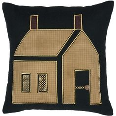 Primitive House Pillow ::  The 18x18 Primitive House Pillow is a warm welcome anywhere you place it. The centered mustard plaid house is appliqued on a black felt base with cross stitch and a wooden button door knob. The burgundy plaid chimneys contribute to the homespun feel. Reverses to solid black felt with 2 tie closures.  ++  BUY at DecorateTheSeason.com