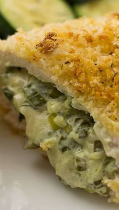 Chicken rolls with spinach cream cheese stuffed chicken breast. Spinach cream cheese stuffed chicken breast are coated with panko breadcrumbs and baked. My Burger, Good Food, Yummy Food, Cream Cheese Chicken, Breast Recipe, Food Dishes, Main Dishes, Chicken Recipes, Recipe Chicken