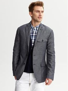 Grey cotton/linen three-pocket blazer | Banana Republic