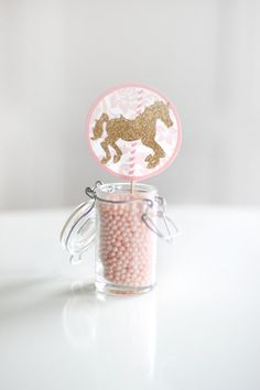 Printable pink and gold carousel cupcake toppers -  Party circles - First birthday - Customizable on Etsy, $8.00