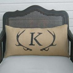 Similar Products: Deer Antler Monogram Burlap Pillow