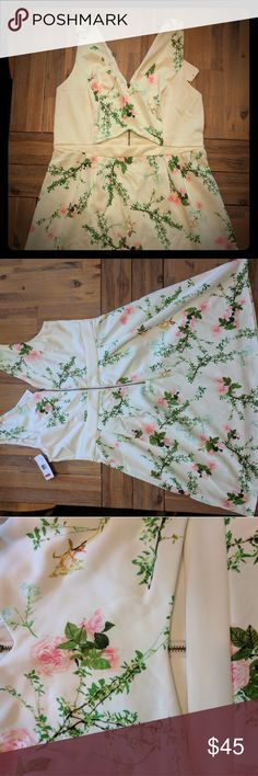 White Floral Dress with Cut Out NEW WITH TAGS, White Floral Dress. Just in time for spring!Perfect for a bridal shower or bachelorette party! Macy's Dresses