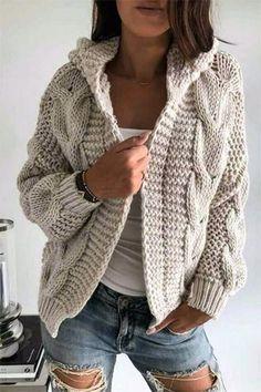 Knitt cardigan knitting coat cardigan with braidswarm dresscozy dresswinter clothing gift ideashandmade itemcover up sweaters Warm Dresses, Winter Dresses, Dress Winter, Sweater Hoodie, Knit Cardigan, Winter Cardigan, Knitted Coat, Winter Outfits For Work, Knit Fashion