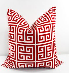 RED  Pillow. Red Outdoor Indoor Pillow by TwistedBobbinDesigns