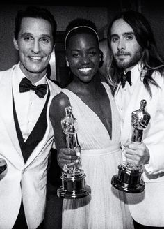 2014 -Matthew McConaughey, Best Actor in Dallas Buyers Club; Lupita Nyong'o for Best Supporting Actress in 12 Years a Slave; Jared Leto Best Supporting Actor in Dallas Buyers Club