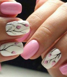 White And Pink Tulip Nails spring nails nail art tulip nails spring nails 2019 - Spring Trends Cute Spring Nails, Spring Nail Colors, Spring Nail Art, Summer Nails, Flower Nail Designs, Cute Nail Art Designs, Nail Designs Spring, Spring Design, Tulip Nails