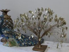 Large 41 X 32cm Vintage MID Century Tree OF Life Wire Gold Leaf Dream Tree | eBay