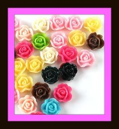 Shiny Rose Flatback Cabochons 12 pack by angelsandcrafts on Etsy, $1.55