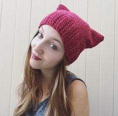 A personal favorite from my Etsy shop https://www.etsy.com/listing/248638434/sassy-cranberry-cat-hat-crocheted-ribbed