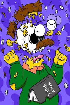 Ned Flanders deconstructed by Matt Gondek Simpsons Drawings, Simpsons Art, Trippy Cartoon, Cartoon Art, Cartoon Characters, Pintura Hippie, Ned Flanders, Posca Marker, Rick And Morty Poster