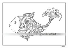 Fish colouring pages. Adult colouring pages. Intricate colouring pages for adults by Prajakta P. Price -  $3.00 USD #colouringpages #adultcolouringpages #heena
