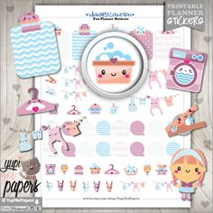 Laundry Stickers, Planner Stickers, Erin Condren, Kawaii Stickers, Planner Accessories, Cute Stickers, Printable Planner Stickers,