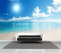 Charming Sunny Beach Wallpaper Ocean Wall Murals Custom Seascape Photo Wallpaper Children room Silk Wall Art Room decor Bedroom Living room