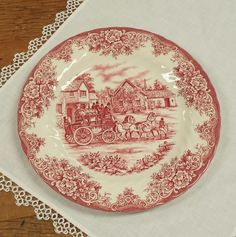 Royal Staffford Red/Pink Transferware ~ Coaching Days ~ Fine Earthenware Dinner Plate ~ Replacement China by FeeneyFinds on Etsy