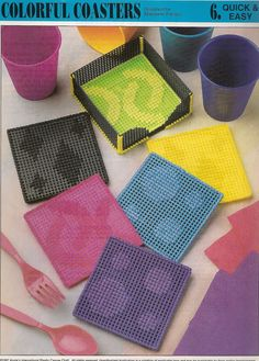 Colorful Coasters Plastic Canvas Pattern by needlecraftsupershop, $3.00