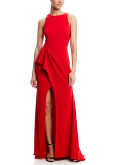 Badgley Mischka Side Peplum Gown with Slit