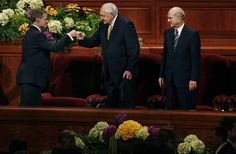 This is one of my favorite things I have ever seen. (Scott Sommerdorf   |  The Salt Lake Tribune)  Elder David A. Bednar, left, fist bumps Elder L. Tom Perry with the empty chair of Elder Boyd K. Packer between them at the end of the afternoon session of the 183rd LDS General Conference, Sunday, April 7, 2013.