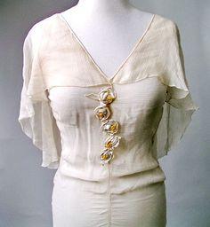 1920s Dress Sheer Chiffon Ivory Silk Rosettes Flutter Ruffle 1930s Wedding. $225.00, via Etsy.