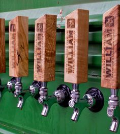 Custom Tap Handle By Bearded Boy Design on Scoutmob Shoppe. On maple or western elm. A nice touch for a man cave. $65 and totally customizable.