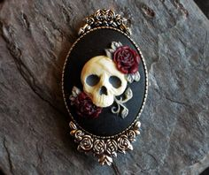 Sugar skull cameo brooch gothic brooch day of by Cameo Jewelry, Cameo Necklace, Skull Necklace, Gothic Jewelry, Vintage Jewelry, Punk Jewelry, Western Jewelry, Hippie Jewelry, Trendy Fashion Jewelry