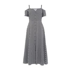 Warehouse Warehouse Gingham Button Front Dress Size 6 ($56) ❤ liked on Polyvore featuring dresses, black pattern, mixed print dress, pattern dress, checker print dress, print dresses and gingham print dress