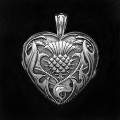Celtic Jackalope's Scottish Heart and Thistle Locket 925 Sterling Silver By Maxine Miller