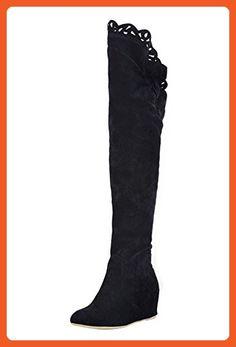 Ital-Design Overknee Stiefel Damen-Schuhe Klassischer Stiefel Keilabsatz/Wedge Keilabsatz Stiefel Schwarz, Gr 41, Y82-