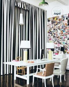 Black and white stripes give visual height