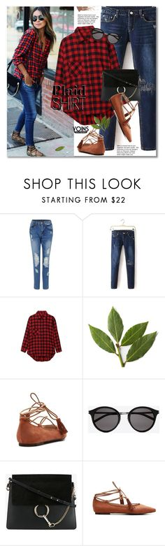 """Plaid Shirt"" by svijetlana ❤ liked on Polyvore featuring AG Adriano Goldschmied, Yves Saint Laurent and Chloé"