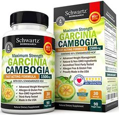 95% HCA Pure Garcinia Cambogia Extract. Fast Acting Appetite Suppressant, Extreme Carb Blocker & Fat Burner Supplement for Fast Weight Loss & Fat Metabolism. Best Garcinia Cambogia Raw Diet Pills... Why Choose Schwartz Bioresearch Garcinia Cambogia? 100% SATISFACTION GUARANTEE: Lose weight with the Best Garcinia Cambogia Raw on the market or your money back! HIGHEST POTENCY GARCINIA 95% HCA FOR FAST WEIGHT LOSS: Maximum Strength 95 HCA Garcinia Cambogia increases weight loss