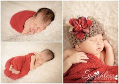 newborn posing...love this red blanket!