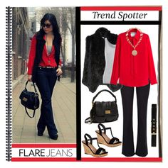 """""""Trend Spotter - Flare Jeans"""" by affton ❤ liked on Polyvore featuring River Island, Alice + Olivia, Marc by Marc Jacobs, Velvet by Graham & Spencer, H&M, Charles by Charles David, Moschino, White House Black Market, tbt and flarejeans"""