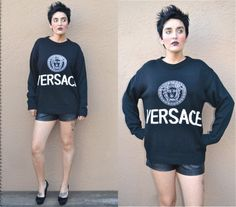 Vintage Rare Versace V2 Classic Black Wool Baggy Loose Fit Slouchy Logo Sweater