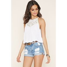 Forever 21 Women's  Crochet-Paneled Cami ($15) ❤ liked on Polyvore featuring tops, white crochet tank top, forever 21, cami tank tops, white camisole and crochet tank top