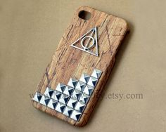 Brown Wood Iphone 4 case, Harry Potter Deathly Hallows Iphone 4 Case