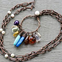 Menagerie Necklace - Semi precious stone, lampwork glass, freshwater pearl and oxidized copper necklace