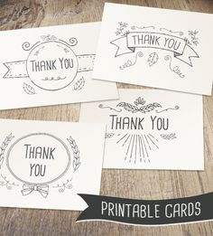 Hand Drawn Printable Thank You Cards…