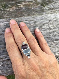 Garnet, Kyanite, Catseye Molten Metal Ring by PixieStixDesigns on Etsy