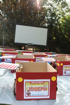 Great idea for a birthday party!  Cars for a backyard drive-in party. | 31 Things You Can Make With A Cardboard Box That Will Blow Your Kids' Minds
