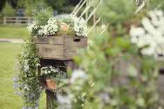 flowers in wooden crate, wedding flowers, English country wedding flowers