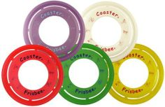 Frisbee Brand Coaster Ring - Set of 5 (Color Assortment) by Frisbee. Save 9 Off!. $22.50. The Coaster Ring is an eleven and a half inch flying Frisbee ring that weighs approximately 80 grams. It is a unique shape that can be gripped many different ways and is great for catch games for all ages.
