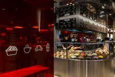 McDonald's Next in Hong Kong, near Admiralty Station. The McDonald's of the future. Build your own burgers & salads. Red transparent wall with food icons. Photo by Ross Honeysett