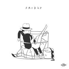 "Ilya Kasakov - ""Week of Sleeping Cups - Friday"". #coolstuff #iconocero #humor #ilustraciones #divertidas #cool #drawings"