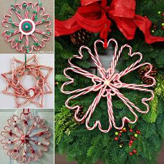 edible christmas candy decorations | Wonderful DIY Christmas Candy Cane Wreath | WonderfulDIY.com