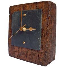 Oak Block Slate Face Mantel Clock - Folksy
