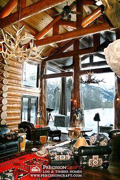 Log Home design design house design Log Cabin Living, Log Cabin Homes, Log Cabins, Mountain Cabins, House Design Photos, Home Design, Design Ideas, Beautiful Living Rooms, Beautiful Homes