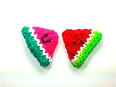 Rainbow Loom - 3D Happy WATERMELON Charm. Designed and loomed by Ellen Carpenter at feelinspiffy. Click photo for YouTube Tutorial. 07/30/14.