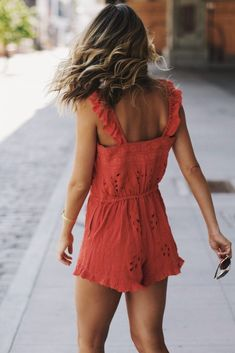 red eyelet ruffle romper