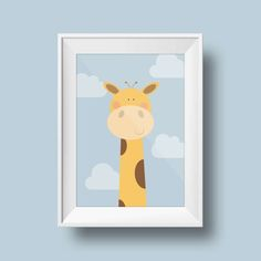 Quirky Giraffe Nursery Print.  This adorable A5 (148 x 210mm) print would make the perfect addition to any childs room, nursery or any wall in need of a quirky lift.  Printed on high quality 300gsm premium uncoated white paper. - PLEASE NOTE - Every effort is made to accurately